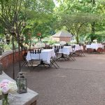 Wedding reception tables on Conference Center patio