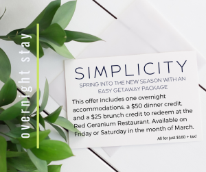 Simplicity Overnight Package offered during March